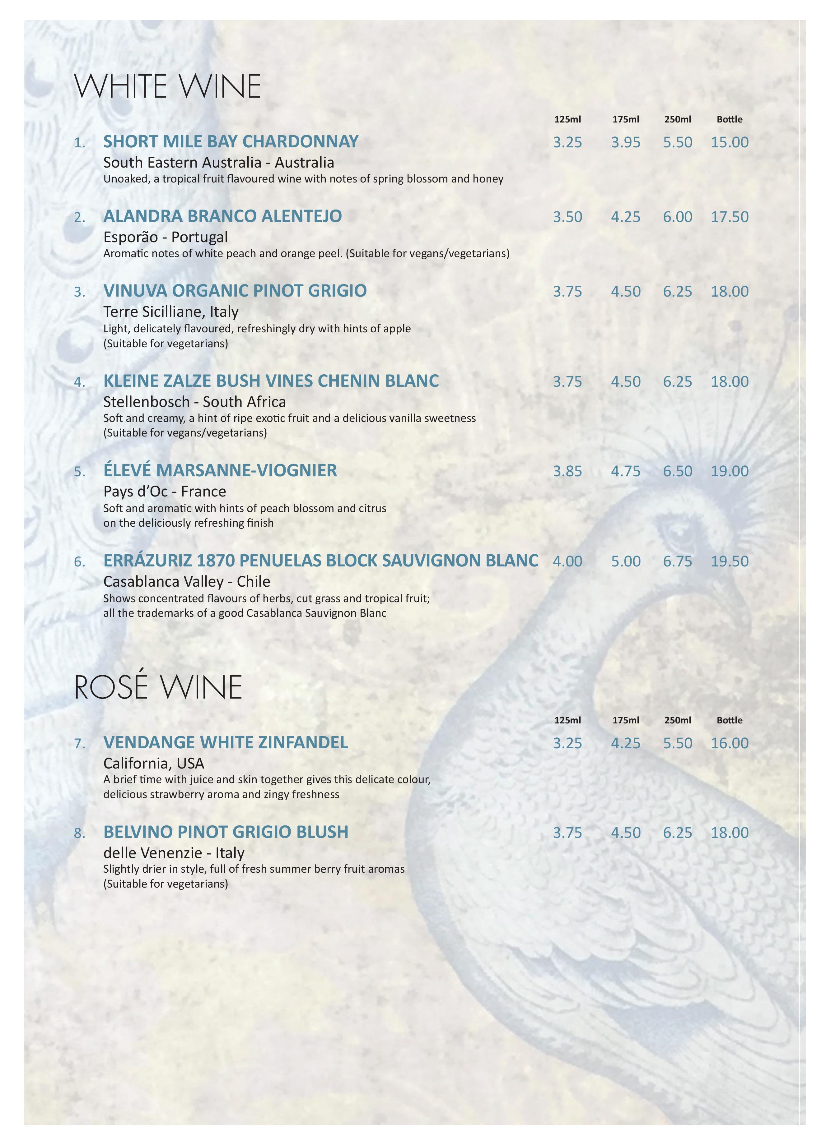 The Garden Bar Wine List white